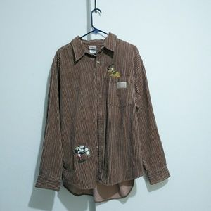 Disney jacquard texture striped button down shirt